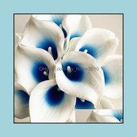 Grinaldas Festivo Festa Suprimentos Home Garden30pcs Callas Artificial Lily Azul Roxo Coração Calla Lírios Flor Falsa Para O Casamento Buqual Bouqu