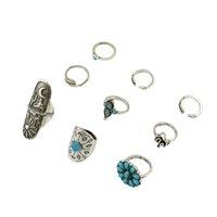 idealway boho vintage cigano prata junta junta unha midi dedo turquesa anel conjunto de 9 anéis