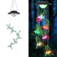 Solarlampen Windspiele Kolibri Mobile Farbe wechseln Wasserdichte dekorative romantische hängende Lichter Geschenke für Mama Gartenarbeit Patio Yard Garden Home Party