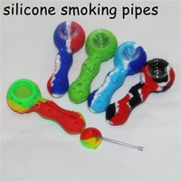 Tubos de fumar de silicona con vidrio Bowl Steash Jar DAB Herramienta Hand Pipe Hand Herb Tobacco Bong Función Nectar Collector Accesorios
