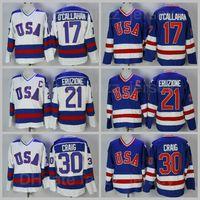 1980 USA Hockey Ice 17 Jack Ocallahan Jersey 30 Jim Craig 21 Mike Eruzione Team الأزرق بعيدا التطريز الأبيض والرياضات الخياطة تنفس