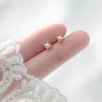 Stud A00160 Fashion Korean Genuine 925 Sterling Silver Mini Baroque Pearl Earrings For Women Teen Girls Daily Life Jewelry