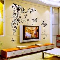 검은 꽃 포도 나무 나비 꽃 DIY PVC 이동식 벽 스티커 홈 장식 벽화 데칼 아트 TV / 소파 배경