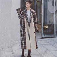 Kadın Yün Karışımları Dikiş Yün Ekose Ceket Kadın Kore Versiyonu 2021 Sonbahar Kış Rahat Nazik Tüm Maç Bayan Femme