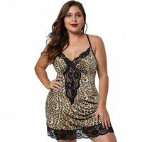 Женщины Leopard Nightgowns Sexy 2019 летнее платье для сна Атлашка плюс размер леди домой слинг ночная одежда спящая кружевная ночная работа S4mh #