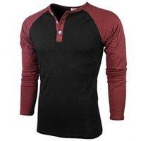 AngryGoldfish Nueva camiseta de algodón de algodón de color sólido camisa de manga larga para hombres de manga raglán ropa de manga larga o-cuello.