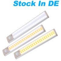 DE Stock LED Cabinet Lights USB Lithium Battery Rechargeable Wireless Lamp Body Sensing Light Bar Magnetic Strip Wall Lighting Wardrobe Lamps