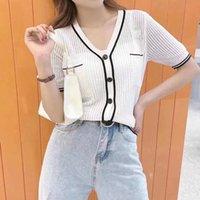 Schwarzweiss-Kontrast-Nähte Mode-Button-Pullover-Top-Frauen-Herbst-Temperament schlanke schlanke Strickjacke kurze Jacke -s / XL