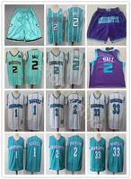 2021 hombres pantalones cortos Lamelo 2 Ball City Basketball Jersey Alonzo Mourning Jersey Tyrone Mugger Bogues Larry Johnson cosido Púrpura Verde Blanco Uniforme Entrega rápida