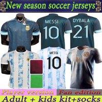 Jeux de fans de joueur Version Argentine Jersey 20 21 Copa America Home Away Football Shirts 2021 Messi Dybala Lo Celso Team National Team Maradona Men + Kit Kit Uniformes