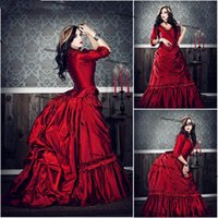 Victorian Gothic bustle Prom Formal Dresses Red Vampire Mina Harker Civil War Southern Long Sleeve Evening Dress Plus Size