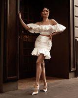 Women's Tracksuits Halinfer Women Summer Sexy Short Sleeve White Two Piece Set 2021 Celebrity Designer Fashion