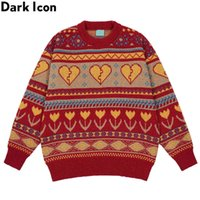 Sombre icône briser le pull coeur pull pull tricotwear vintage pull masculier couple vêtements y1011