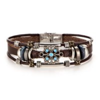 Retro Vintage Weave Leather Turquoise Flowers Charm Bracelets Women Men Statement Multilayer Bangles Lovers Alloy Multi-element Fashion Accessories Jewelry sets