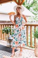 المرأة عارضة فستان الشمس الإناث شاطئ اللباس سيدة بوهو مثير فساتين الأزهار فتاة ميدي زر عارية الذراعين البولكا نقطة مخطط تنورة