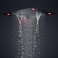 ブラックシャワーヘッドラグジュアリーホテルビッグレインウォーターフォール3機能Howerhead電気LEDライト600 x 800 mm 304ステンレス鋼