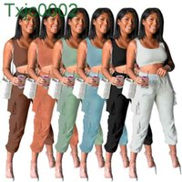 Women Tracksuits Designer Slim Sexy U Neck Large Yoga Suit Pants Two Piece Sets Casual Solid Color Vest Pocket Trousers Outfits 6 Colours