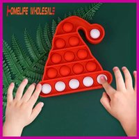 TikTok Trend Sensory Fidget Toys Christmas Hat Push Popper Board Xmas Eve Kids Gifts Party Ornament Decompression Mice Killing Finger Press Popping Bubbles