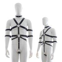 Mens Lingerie Chastity Belt Pu Leather Neck Collar Bodysuit Harness Clothing For Men Gay Bondage Bdsm Restraint Sex Toys Costume Y0406