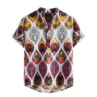 Homens Casuais camisas 2021 roupas vintage homens Hawaiian Imprimir camisa de manga curta moda étnica verão tops blusa