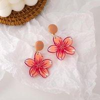Dangle & Chandelier 2021 Retro Geometric Resin Peach Blossom Earrings Women's Creative Party Accessories