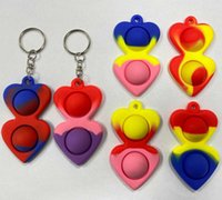 Simple Keychain Fidget Sensory Push Bubble Toy Pendants Squeeze Silicone Bubbles Stree Relief Finger Key Ring Toys