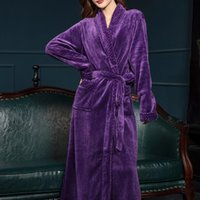 Women's Sleepwear Women Men Extra Long Warm Dobby Coral Fleece Bathrobe Winter Thick Flannel Thermal Bath Robe Kimono Dressing Gown Bride Pe