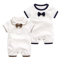 Retail wholesale baby romper infant newborn cotton rompers with bow onesies Jumpsuit Jumpsuits Children Designers Clothes Kids boutique clot