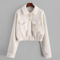 Women's Jackets 2021 Autumn Women Coat Outerwear Winter Long Sleeve Warm Casual Sweatshirt Button Pockets Top Blouse E30