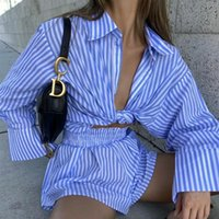 Women's Tracksuits Striped Print Shorts Set Women Vintage Beach Oversized Blue Blouse Shirts Sets Suits Two Pieces Matching Female Clothing