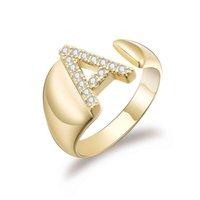 Yutong Gold Hollow Initial A-Z Lettres Cubic Zircon Anneaux argentules réglables pour Femmes Alphabet Design Cadeau Bijoux de mode 2021