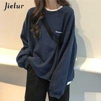 Jielur 2021 Nova carta de Kdoll Moda Moda Coreana Dunne Chic Suor Fresco Marinho Marinho Azul Cinzento Hoodies para mulheres M-XXL
