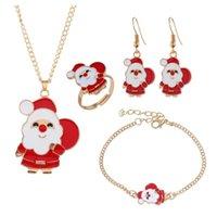 Earrings & Necklace Design Fashion Women Christmas Jewelry Set Cute Cartoon Drop Oil Elk Earring Bracelet Ring Ornaments Gift