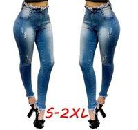 Mulher Designer Skinny Jeans Moda Holed Burr Alto Cintura Jeans Casuais Mulheres Slim Denim Lápis Calças