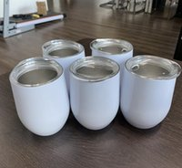 12oz Blank Sublimation Egg Shaped Wine Glass Double Wall Mugs Stainless Steel Tumblers with Lid Sea CCA12437 100pcs