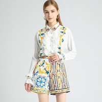 Pieces Pants Sets Woman 2021 Elegant Beading Turn Down Collar Patchwork Ruffles Flare Sleeve Shirt Blouse Print Short Women's Tracksuits