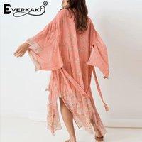 Everkaki Boho Imprimir Long Kimonos Casacos Verão Beach Sashe Gypsy Férias Casaco Kimono Feminino Casual Loose 2020 Nova Moda1