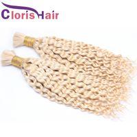 Super Deal 613 Блондинка вьющиеся вьющиеся волосы Бразил Расширения в навалом Дешевые Глубокая Волна Бразильская Человеческая Насыпка Для Кориков Нет Привязанности