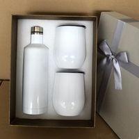 US warehouse white wine glasses sets 500ml 17oz sublimation cola bottles Stainless Steel Vacuum Insulated mug 2pcs 12oz egg cups Lids Tumbler gifts box 10sets carton