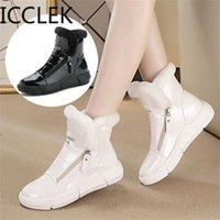 Winter Platform Boots Women Sneakers Shoes Woman High Top Casual Wedge Zipper Booties Warm White Botas Mujer Invierno 211018