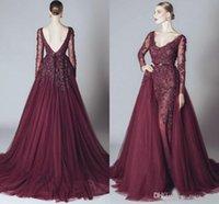 ELIE SAAB Spitze formale Burgund Celebrity Abendkleid Backless v-ausschnitt Prom Kleider Lange Ärmel Arabische Partykleider billig