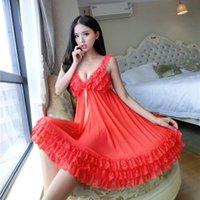 Lingerie Home Wear Size 4Xl Women Sexy Erotic Sleep Dress Perspective Embroidery Nightgown Sling Lace Sleepwear Womens Sleepwears Plus