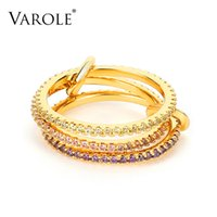 VAROLE Multi-layer Ring Gold Color Punk Finger Rings For Women Accessories Color Crystal Fashion Jewelry