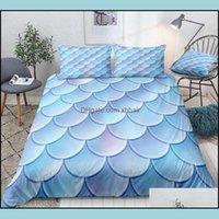 Supplies Textiles & Gardenfishes Scale Bedding Set Blue Scales Bed Linen Duvet Er Girl Boy Microfiber Home Textile Bedclothes1 Sets Drop Del