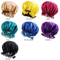 Adjustable Hat Head Cover Satin Elastic Hair Bonnet Double Layer Muslim Women Night Sleeping Cap With Invisable Button