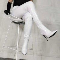 여성 허벅지 높은 바지 부츠 클럽 파티 쇼 무릎 가랑이 부츠 신발 여성 여성 Bota Botines Mujer Plus Size47 201109
