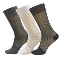 Mens Silk Sheer Socks Mid Calf OTC Ultra Thin Nylon Dress Sock Soft Daily Casual Stockings Work Business Sox Men's
