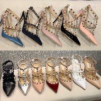 النساء صندل ترصيع مضخة المرأة عالية الكعب براءات الجلود رباط الكاحل حزام مضخة أعلى جودة حقيقية جلد القاع مثير الأحذية