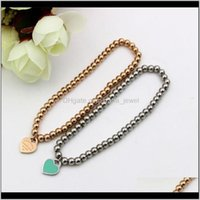 "Link, Chain Bracelets Jewelry"" York Forever Love""Stamp Stainless Steel Ball Beaded For Women Heart Charm Stretch Strand Bracelet K00091 Drop"
