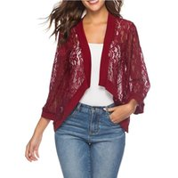 Women's Knits & Tees Women Casual Lace Crochet Cardigan Wear Streetwear Solid Fashion Three Quarter Sleeve 2021 Cover Up Jacket